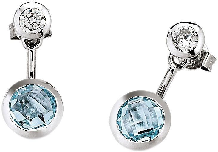 VIVENTY Paar Ohrstecker »776054« mit abnehmbaren Einhänger, Zirkonia und Blautopas in Silber 925-blau