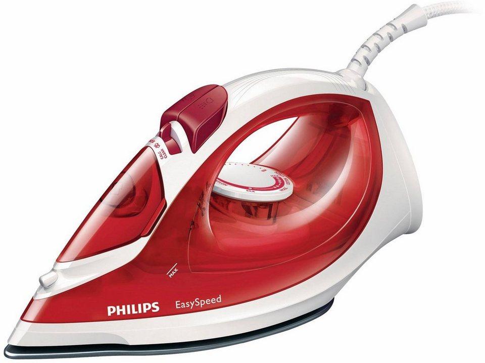 Philips Dampfbügeleisen GC1029/40 EasySpeed Keramiksohle, 2000 Watt, rot in rot-weiß