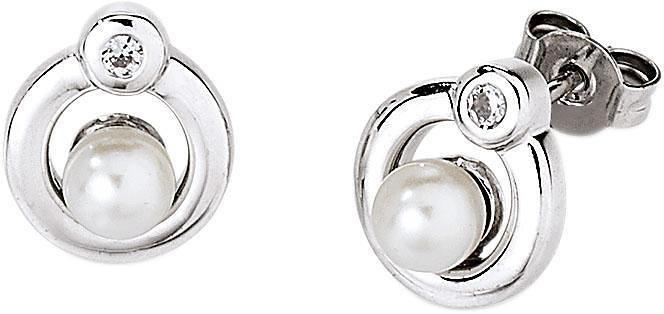 VIVENTY Paar Ohrstecker »776534« mit Zirkonia und Süßwasserzuchtperle in Silber 925-weiß