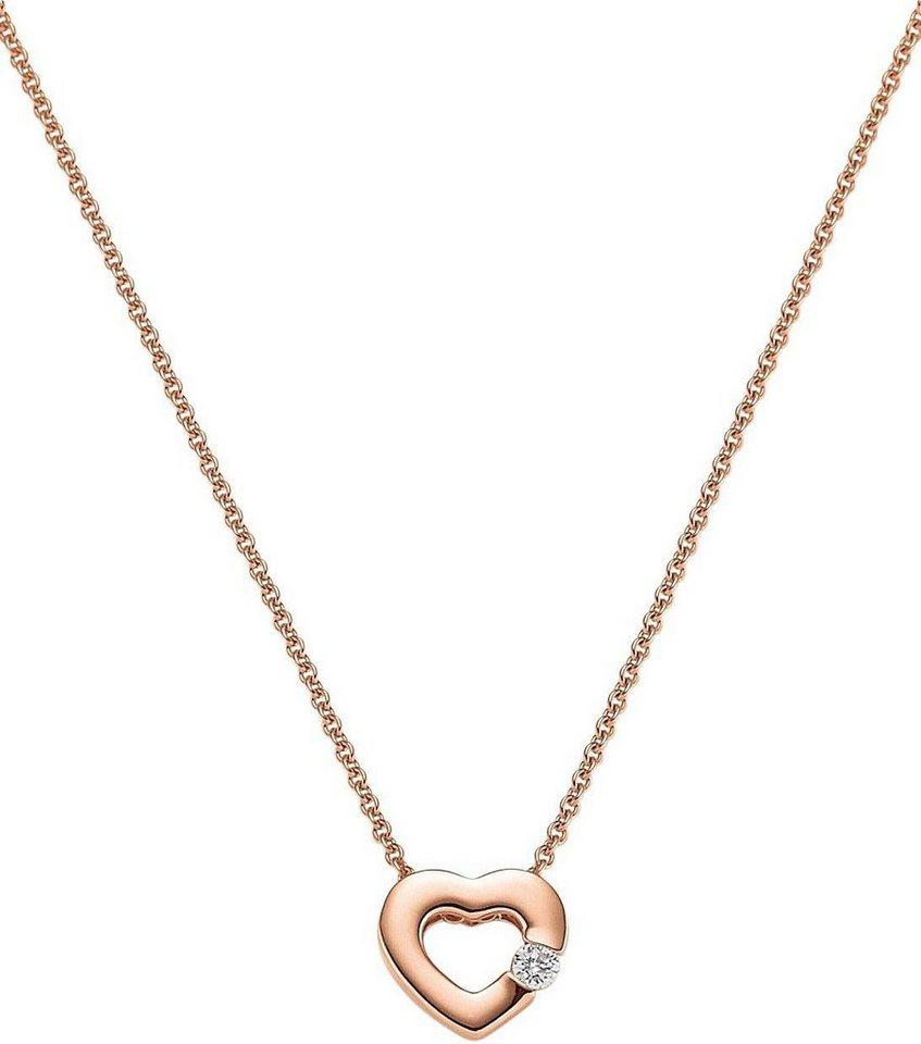 VIVENTY Kette mit Anhänger »Herz, 773512« mit Zirkonia in Silber 925-roségoldfarben