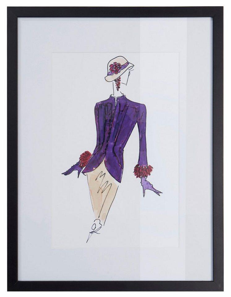 guido maria kretschmer home living bild skizze fashion zeichnung mit schwarzem holzrahmen. Black Bedroom Furniture Sets. Home Design Ideas