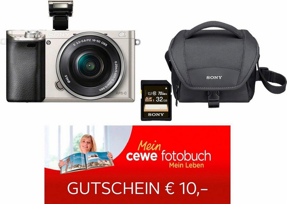 Sony Alpha ILCE-6000L System Kamera, 16-50mm Zoom, inkl. Tasche, 32 GB SD-Karte, 10€ Fotogutschein in silberfarben