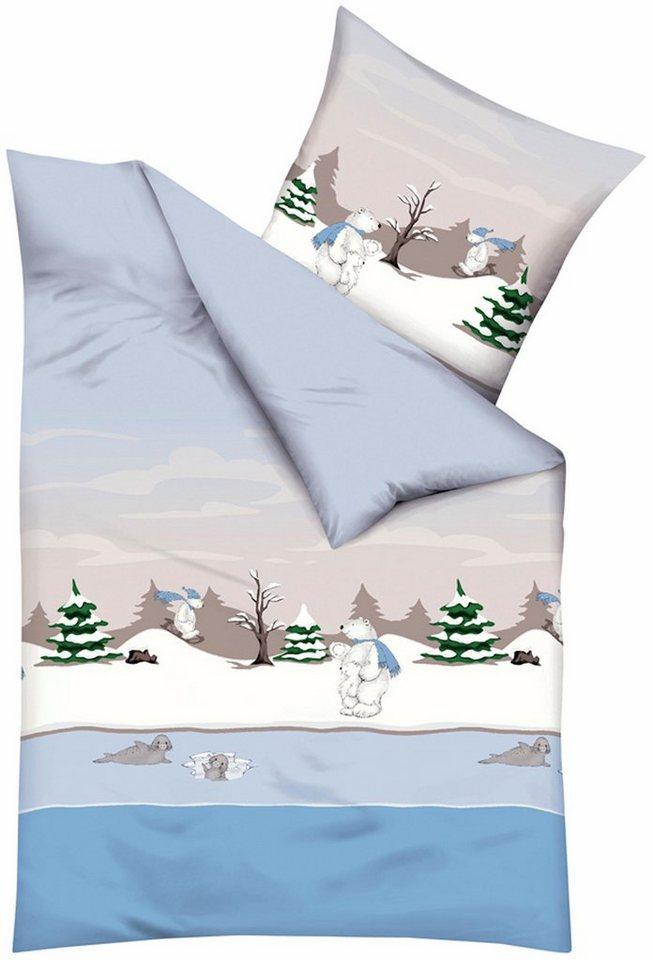 Bettwäsche, Kaeppel, »Eisbären«, mit Eisbär-Motiven in hellblau