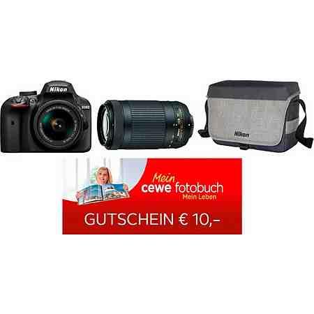 Nikon D3400 Spiegelreflex Kamera Kit NIKKOR 18-55 & 70-300 mm VR Zoom + Tasche & Foto-Gutschein