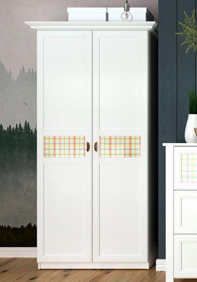 Home affaire Garderobenschrank »Sonya« mit dekorativen Glaseinsätzen, Breite 114 cm in weiß