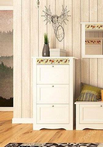 Home affaire Schuhkommode »Elza«, weiß mit dekorativem Muster in weiß