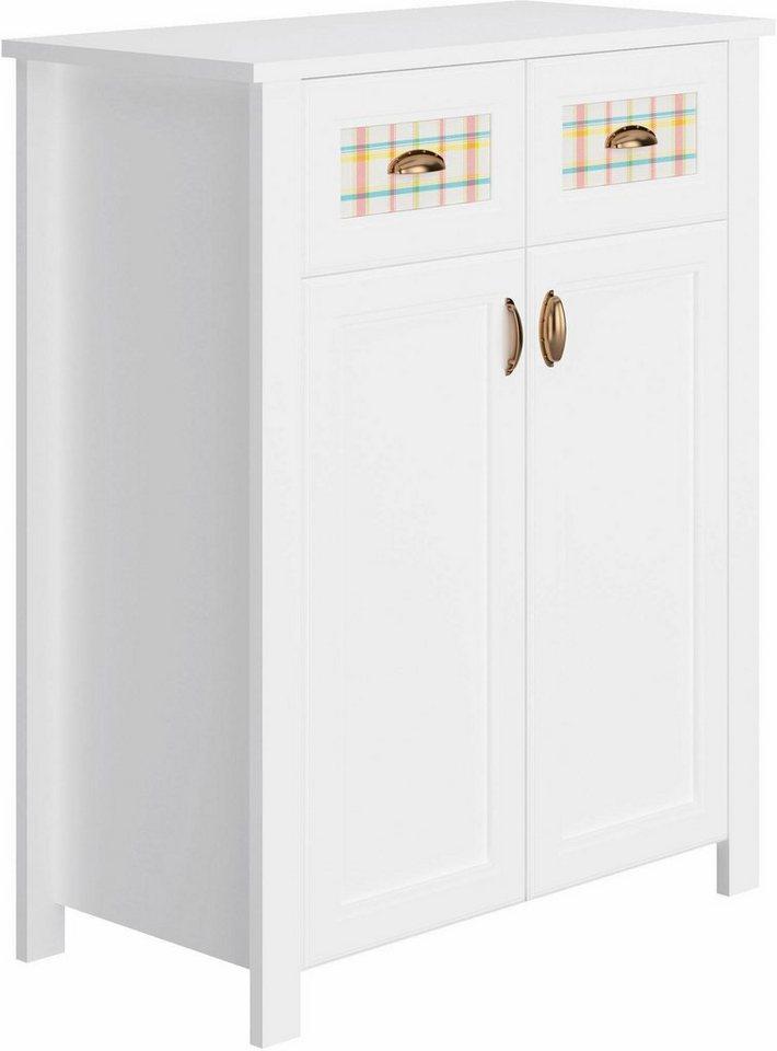 Home affaire Kommode »Sonya« mit dekorativen Glaseinsätzen, Breite 91 cm in weiß