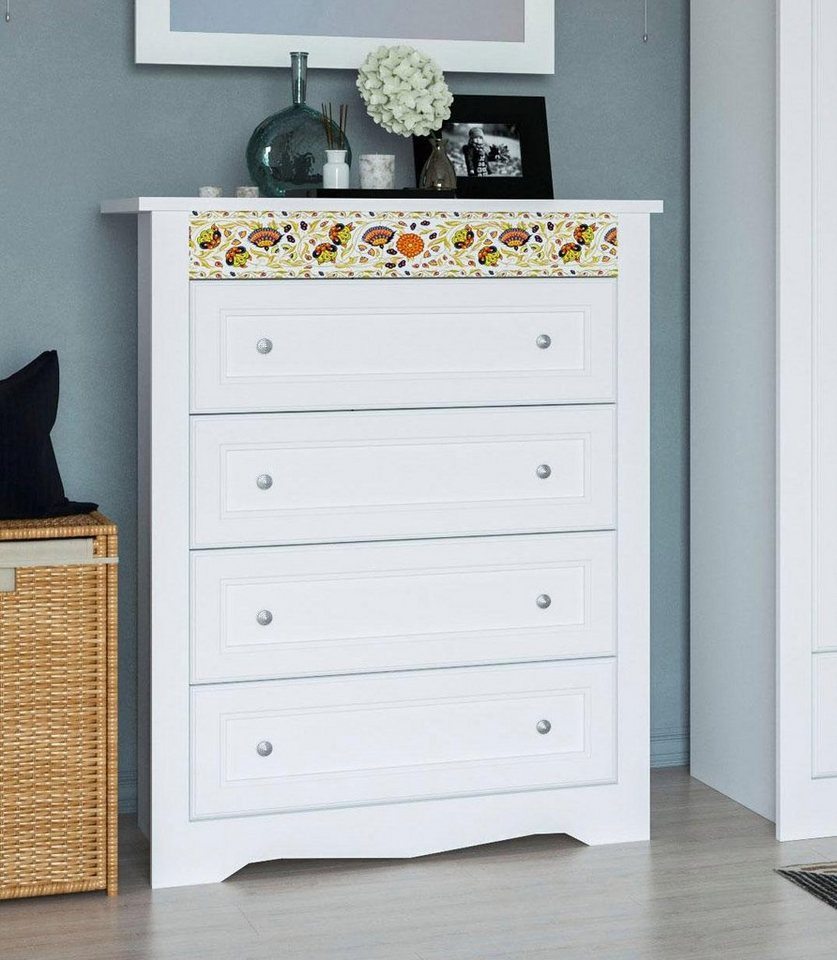 home affaire kommode elza wei mit dekorativem muster. Black Bedroom Furniture Sets. Home Design Ideas