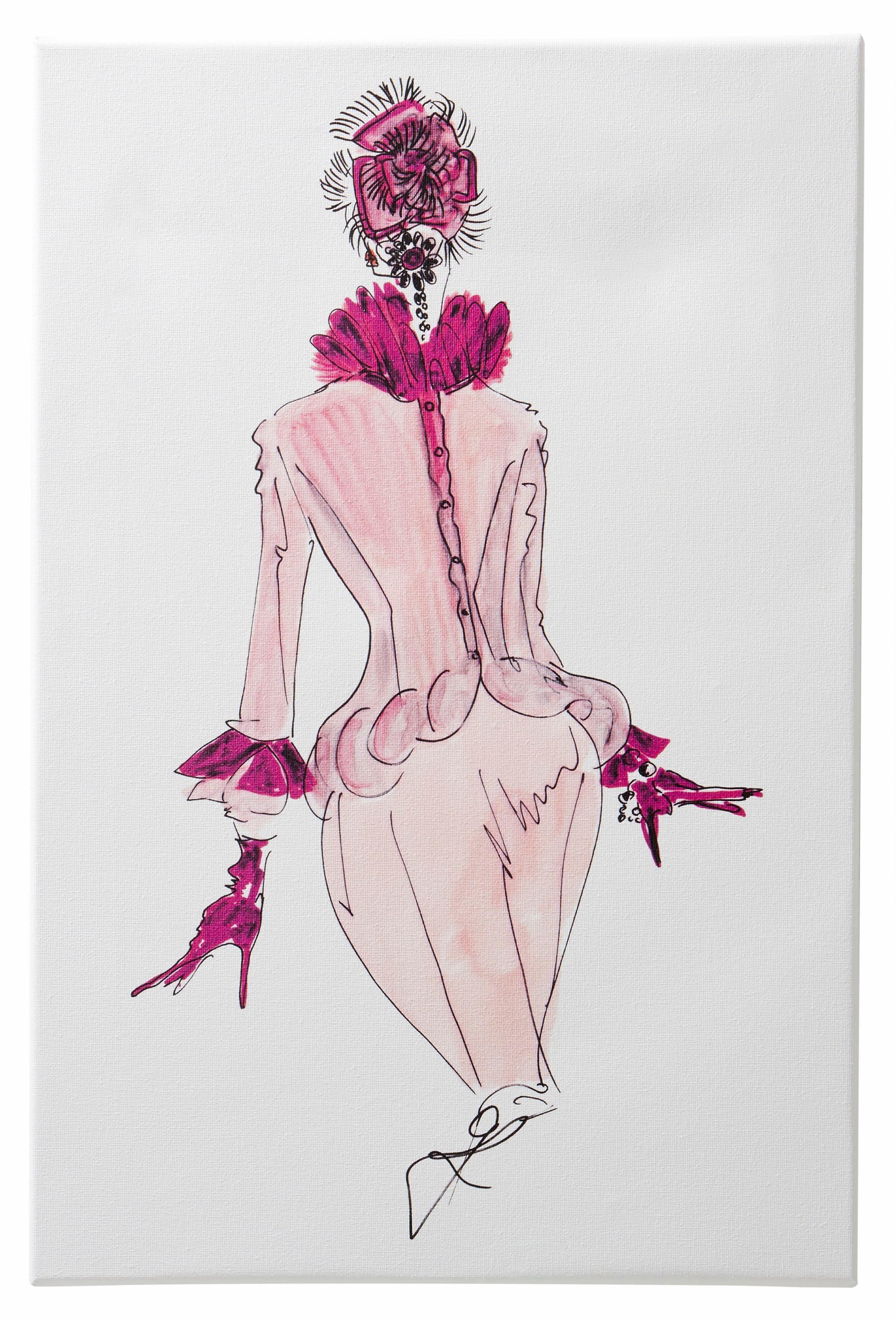 Guido Maria Kretschmer Home&Living Leinwandbild »Keilrahmenbild«, Mode, Zeichnung, 40/60 cm, gerahmt, Keilrahmen
