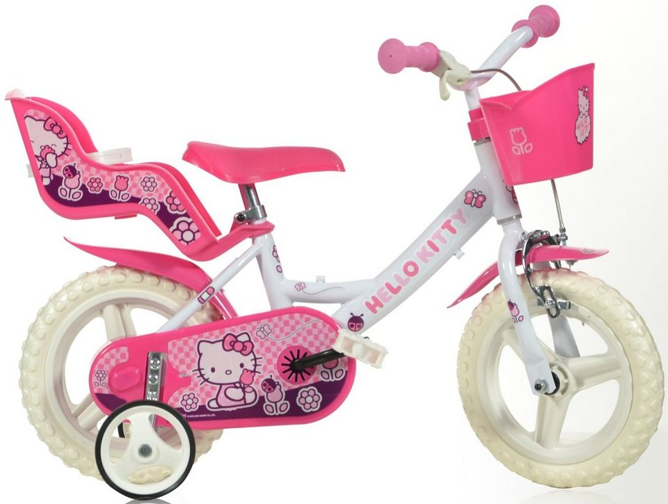 Kinderrad, mit Lenkerkorb + Puppensitz, in 12 Zoll »Hello Kitty« in pink-weiß
