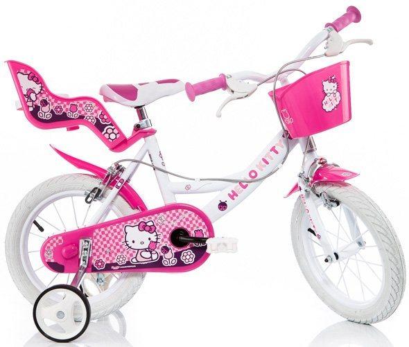 Kinderrad, mit Lenkerkorb + Puppensitz, »Hello Kitty« in pink-weiß