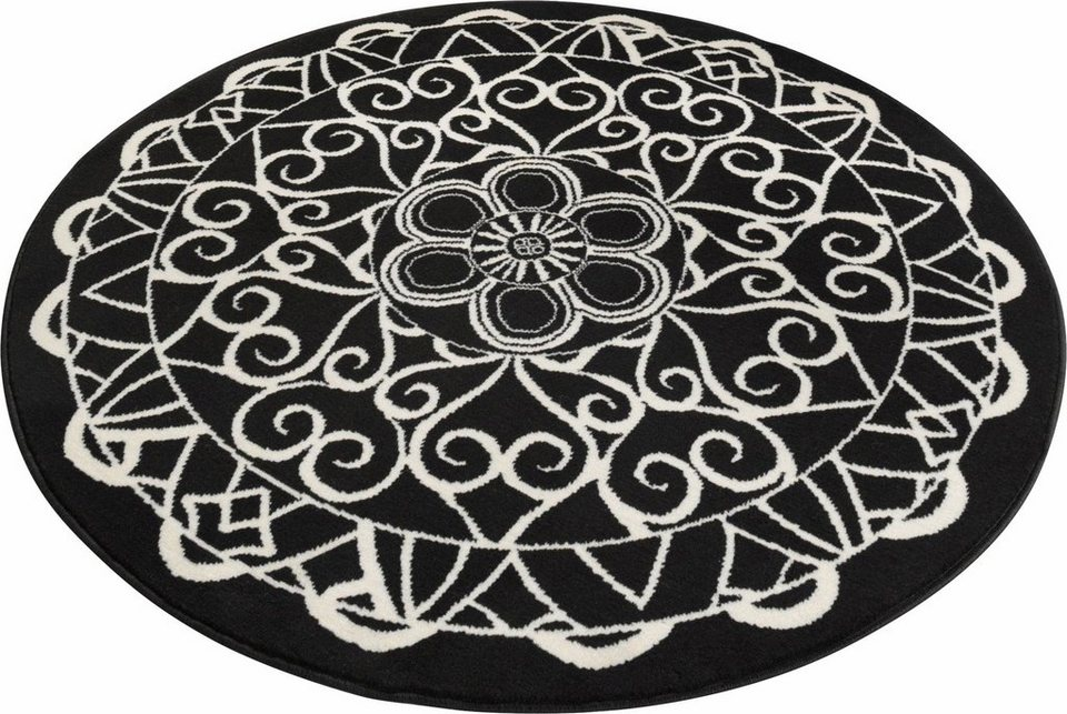 Teppich rund schwarz weiß  Teppich »Mandala 1«, Zala Living, rund, Höhe 9 mm | OTTO