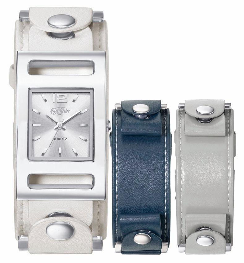 Buffalo Quarzuhr mit 2 Wechselbändern (Set, 3 tlg.) in weiß-blau-grau