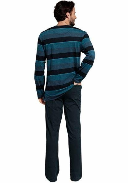 Schiesser langer Pyjama in blaugrau