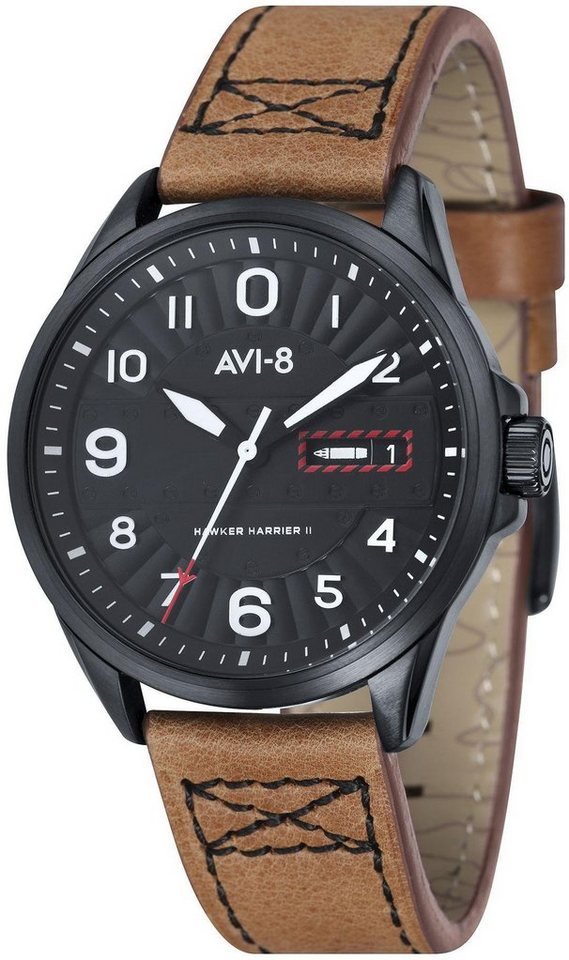 AVI-8 Quarzuhr »Hawker Harrier II, AV-4045-04« in braun