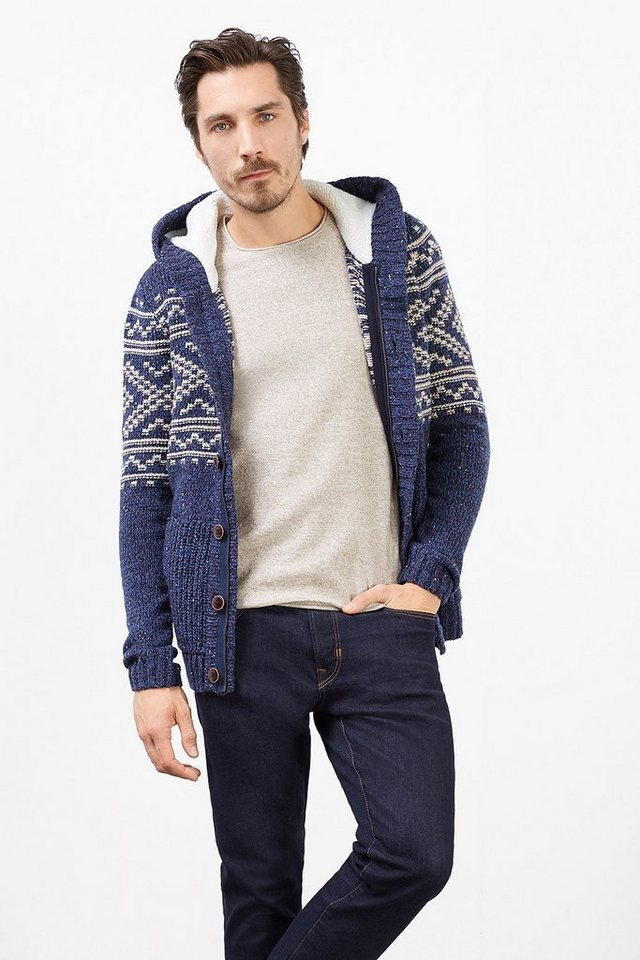 EDC Grobstrickjacke aus Woll-Mix in NAVY