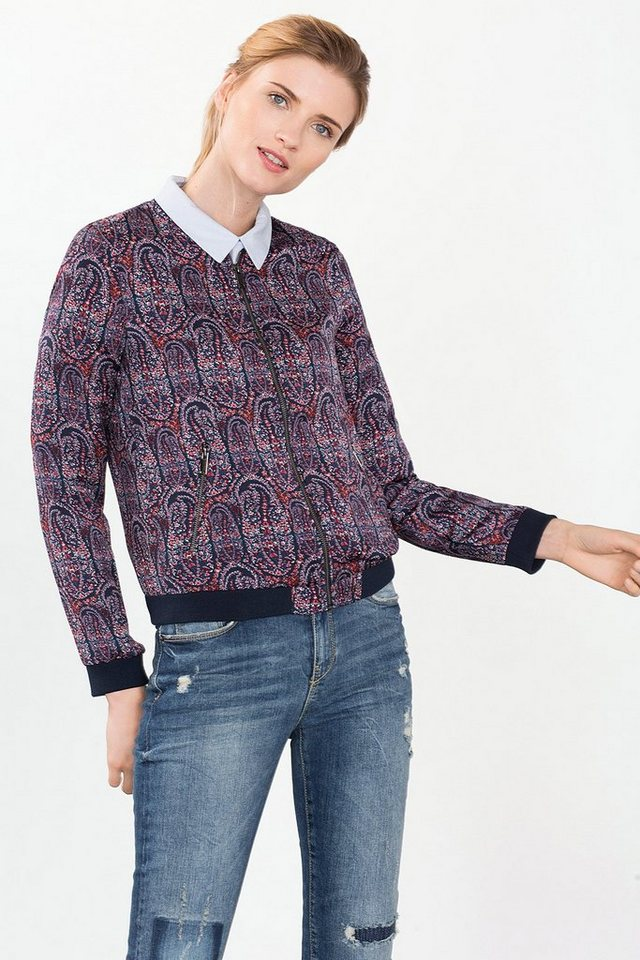 ESPRIT CASUAL Bomber-Jacke mit Paisley-Print in NAVY