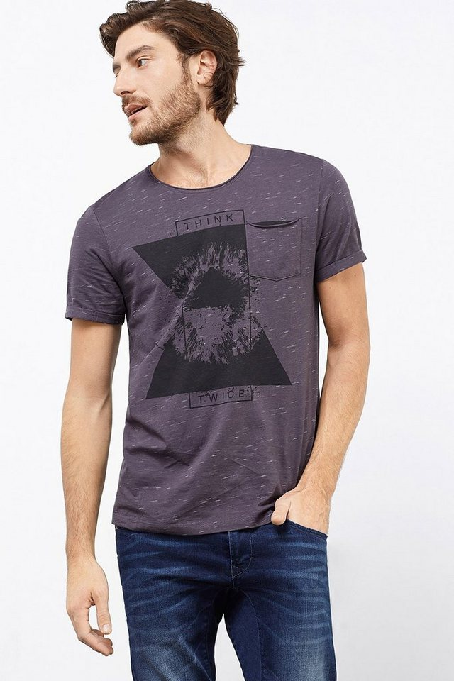 EDC Print T-Shirt aus 100% Baumwolle in DARK GREY