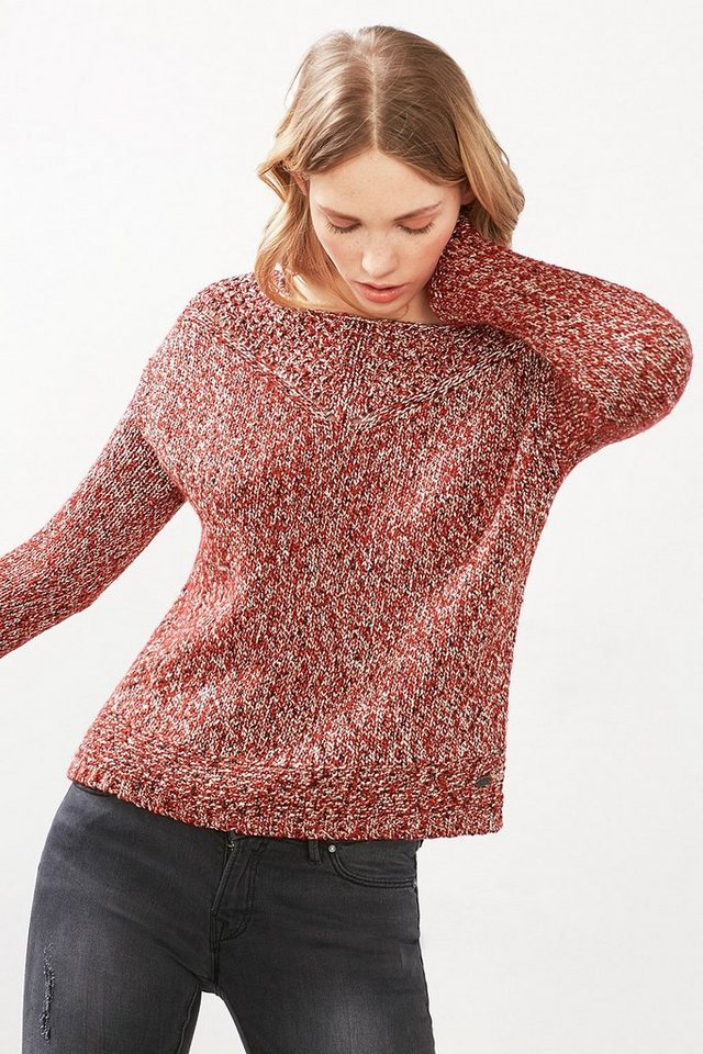EDC Pulli im Mouliné-Look mit Lurex in DARK RED