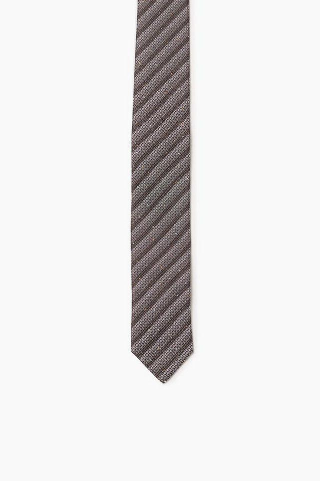 ESPRIT COLLECTION Krawatte mit Strukturstreifen, 100% Seide in BROWN