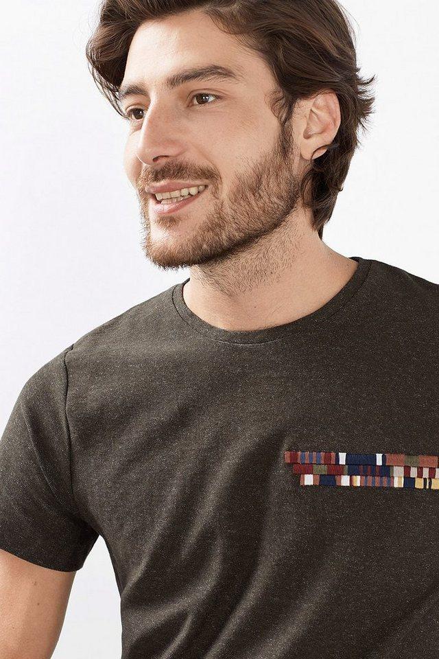 ESPRIT CASUAL Jersey Stitching T-Shirt, 100% Baumwolle in DARK KHAKI