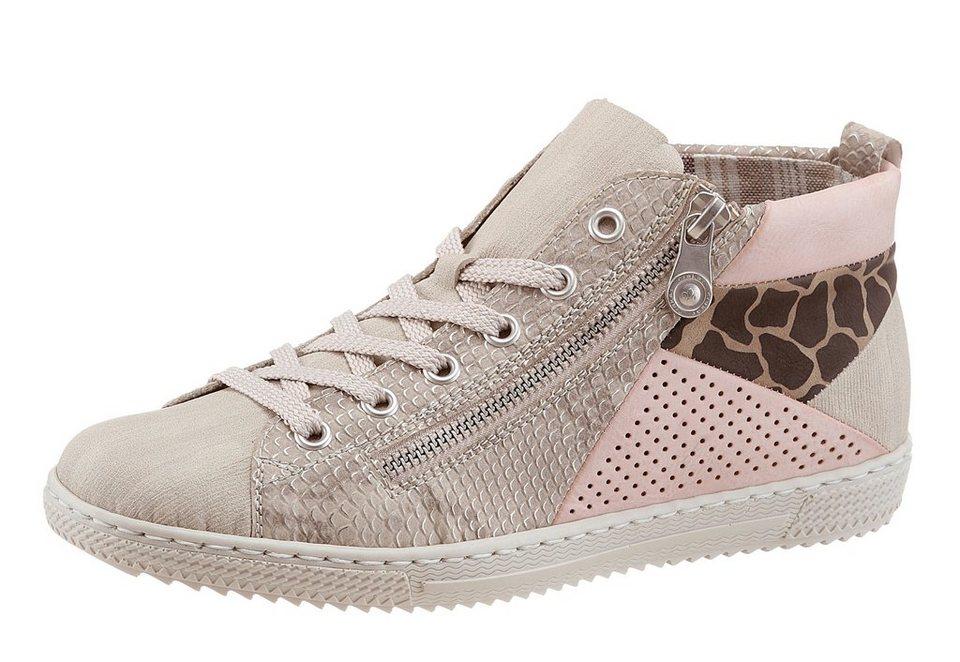 Rieker Sneaker im Patchwork-Style in beige-rosé-grau