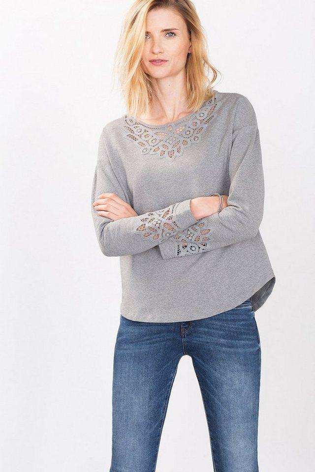 ESPRIT CASUAL Feminines Sweatshirt mit Spitzen-Details in LIGHT GREY
