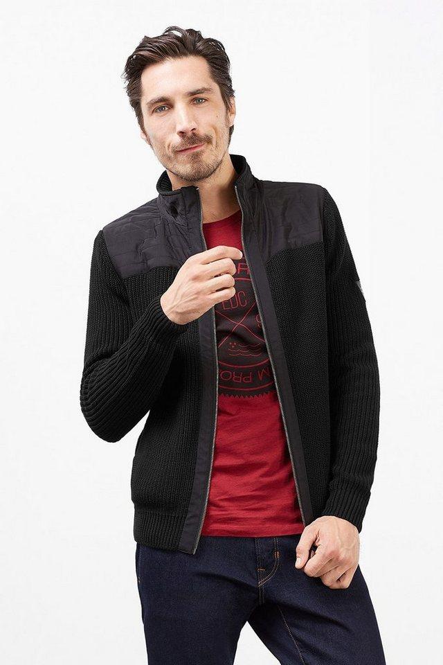 EDC Baumwoll Zipp Cardigan mit Nylon in BLACK