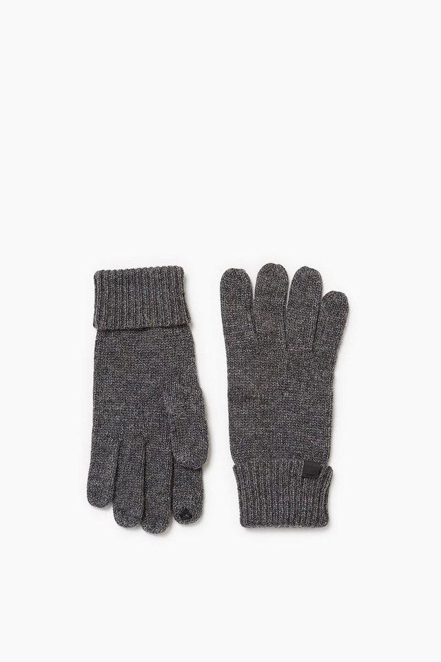 ESPRIT CASUAL Touchscreen Strickhandschuhe aus Wolle in DARK GREY