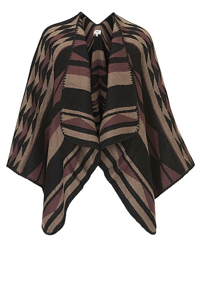 Cartoon Poncho in Beige/Schwarz - Bunt