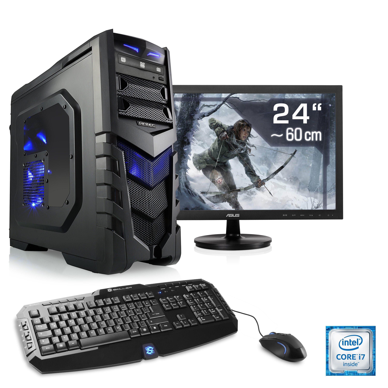"CSL Gaming PC Set | i7-6700 | GeForce GTX 1060 | 16 GB RAM | 24"" TFT »Speed T7692 Windows 10 Home«"
