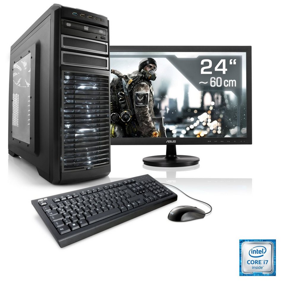 "CSL Gaming PC Set | i7-6700 | GeForce GTX 1060 | 16 GB RAM | 24"" TFT »Speed T7695 Windows 10 Home«"