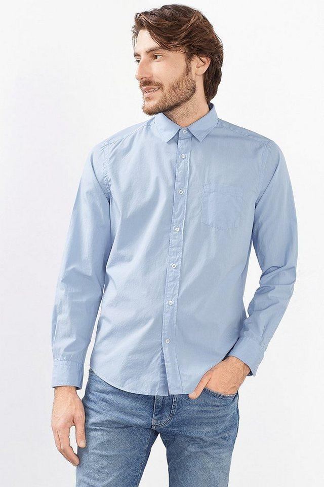 ESPRIT CASUAL Hemd mit Wascheffekt, 100% Baumwolle in LIGHT BLUE