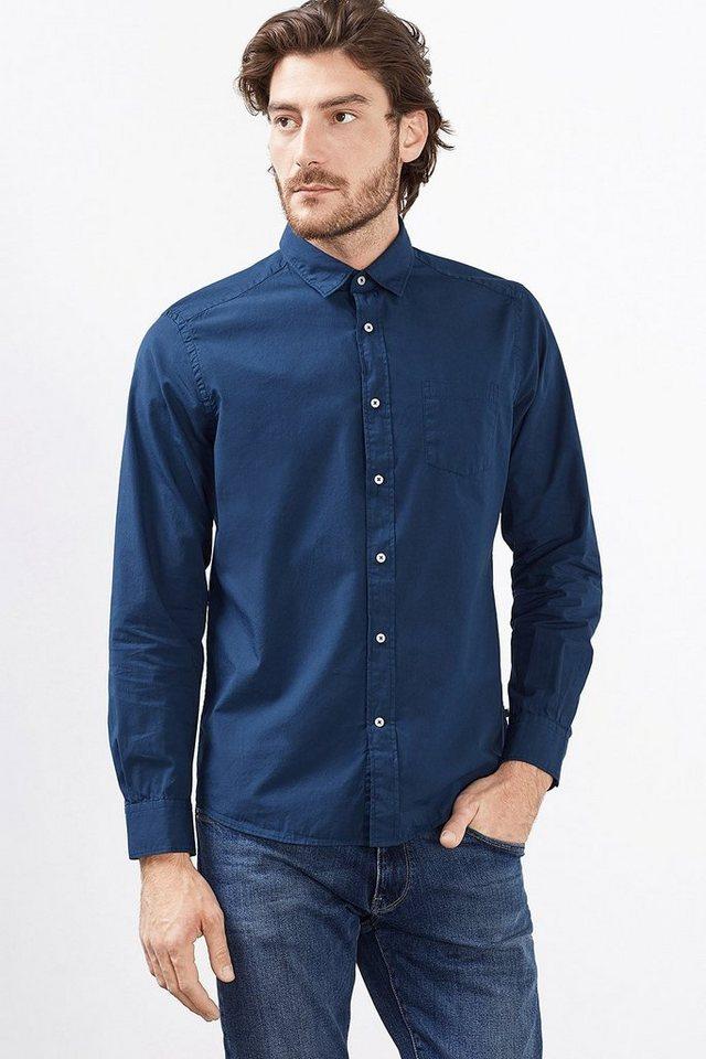 ESPRIT CASUAL Hemd mit Wascheffekt, 100% Baumwolle in DARK BLUE