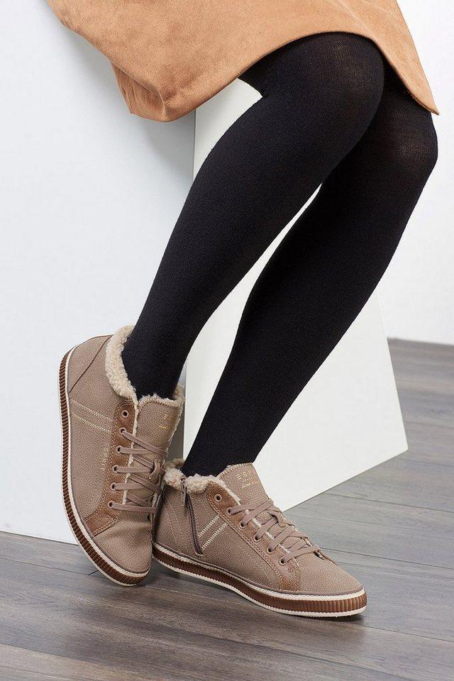 ESPRIT CASUAL Material-Mix Sneaker mit Webfell-Futter in KHAKI BEIGE