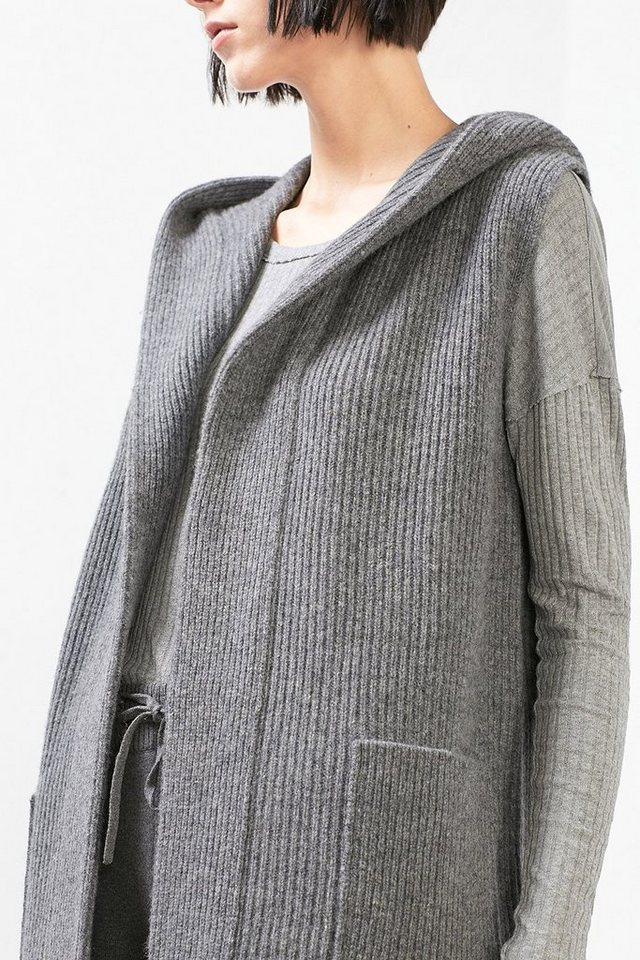 ESPRIT CASUAL Long Cut Kapuzen-Weste in ANTHRACITE