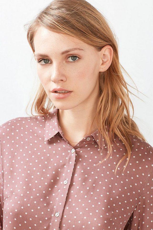 ESPRIT CASUAL Pünktchen-Bluse mit Bubikragen in OLD PINK