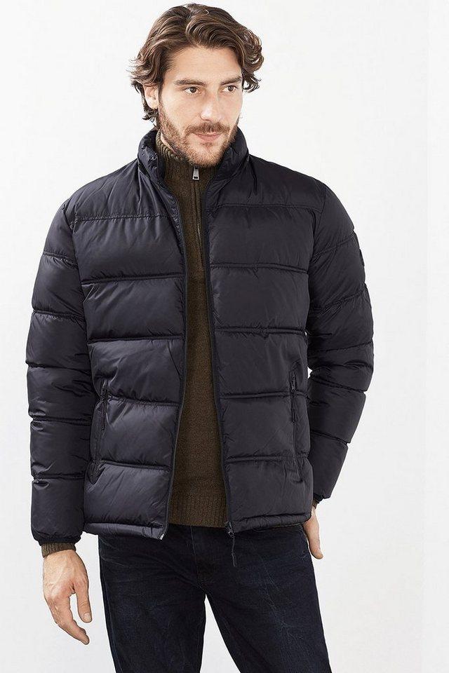 ESPRIT CASUAL Wattierte Basic-Jacke mit Zip-Off-Kapuze in BLACK