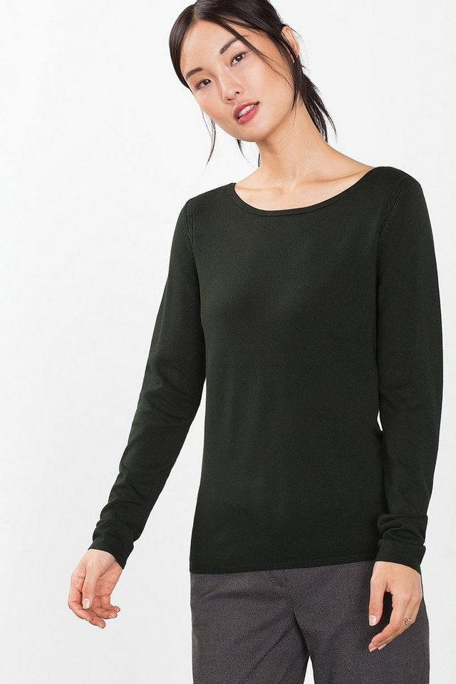 ESPRIT COLLECTION Basic Feinstrick-Sweater in BOTTLE GREEN