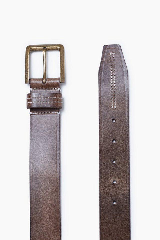 ESPRIT CASUAL Ledergürtel mit Stitchings und Prägung in DARK GREEN