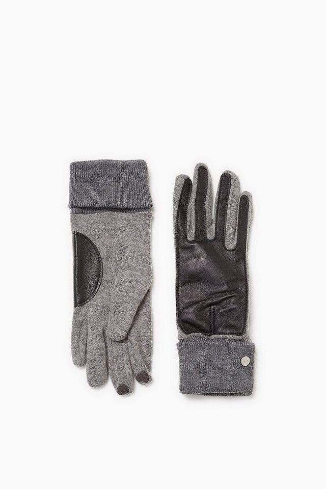 ESPRIT CASUAL Touchscreen Handschuhe, Strick und Leder in MEDIUM GREY
