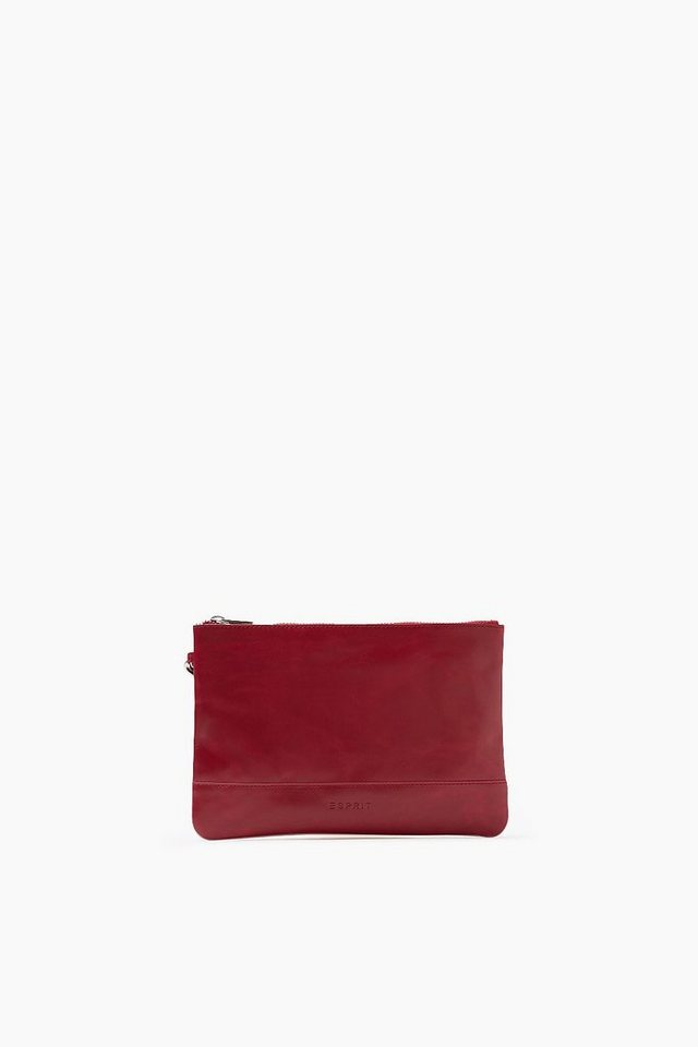 ESPRIT CASUAL Zip Clutch aus glattem Rindsleder in CHERRY RED