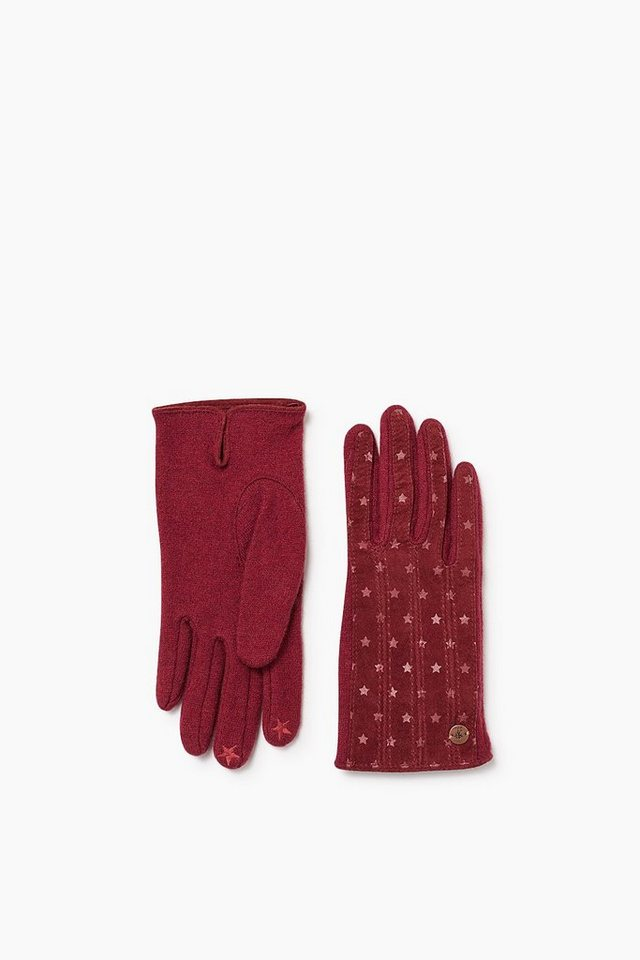 EDC Wollhandschuhe mit Veloursleder in BORDEAUX RED