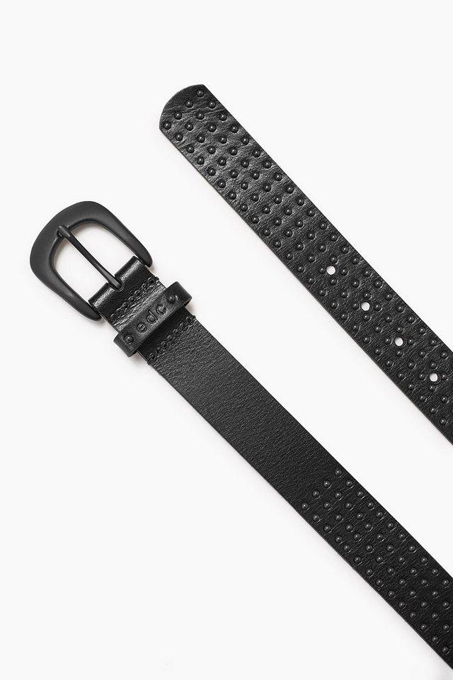 EDC Ledergürtel mit Nieten in BLACK