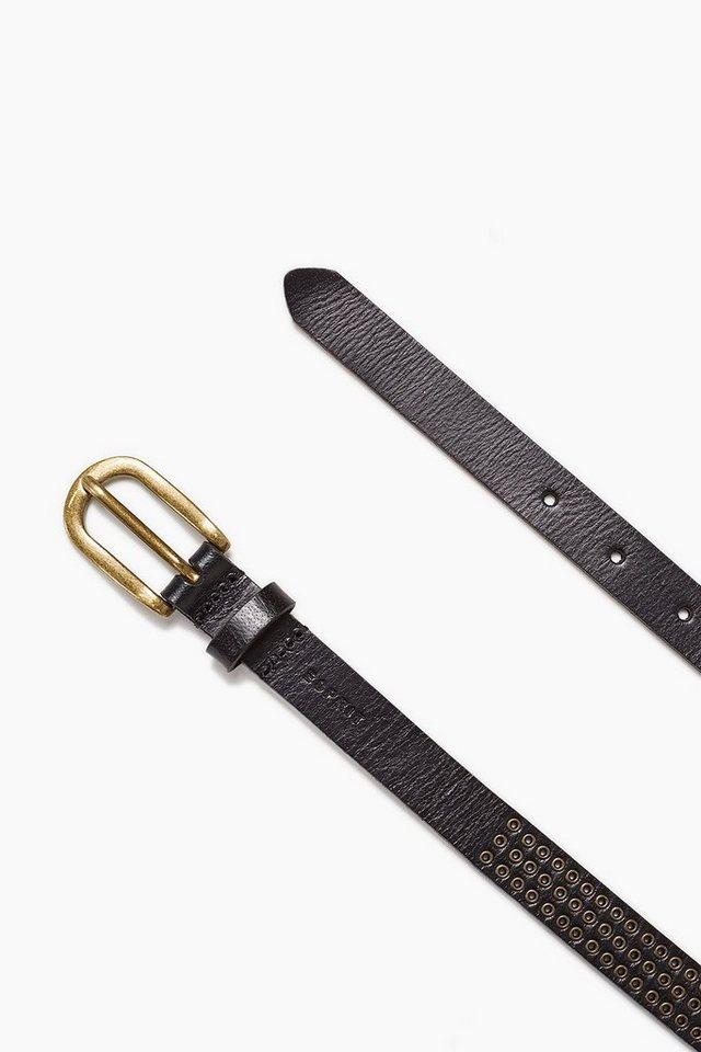 ESPRIT CASUAL Schmaler Ledergürtel mit Metall Eyelets in BLACK
