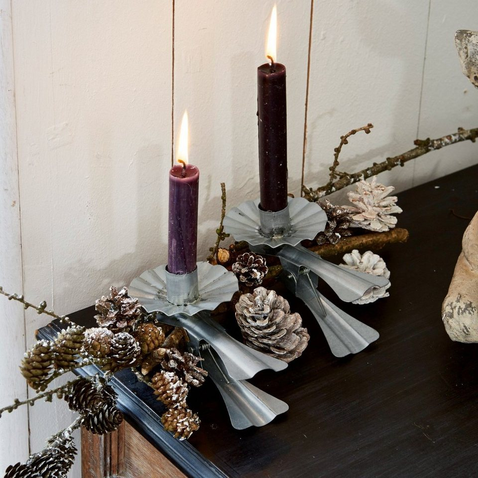 Loberon Kerzenhalter 4er Set »Edvin« in silber