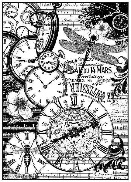 """Stamperia Motiv-Strohseide """"Vintage Uhren"""" DIN A4"""
