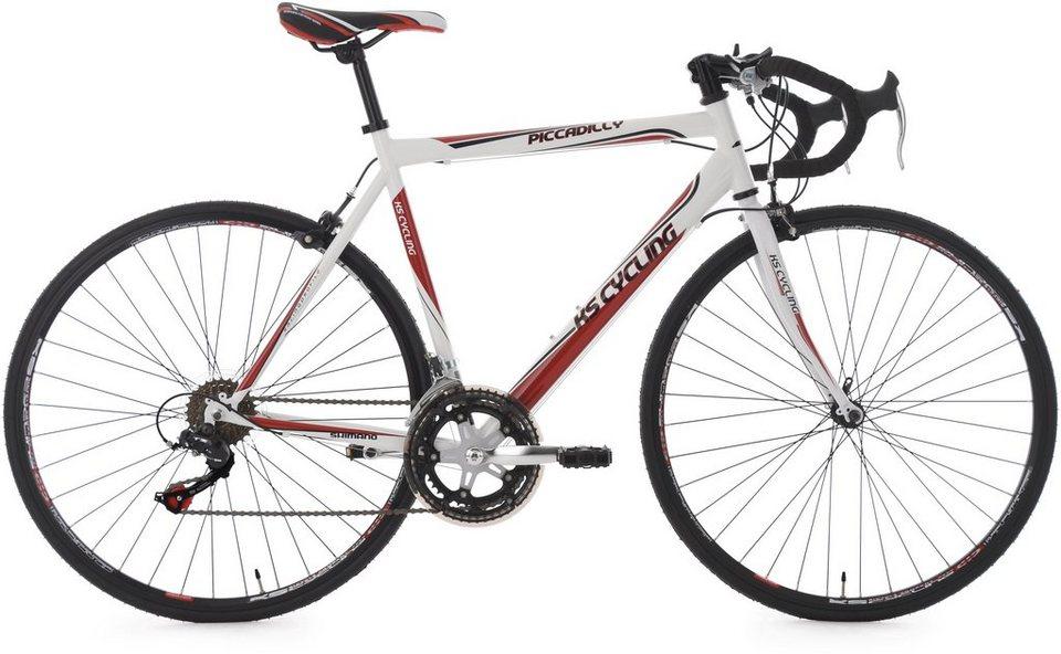 Rennrad, 28 Zoll, weiß, 14 Gang SHIMANO Kettenschaltung , »Piccadilly«, KS Cycling in weiß