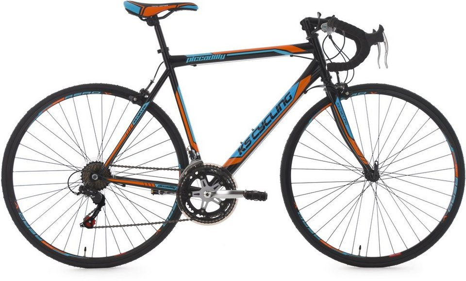 Rennrad, 28 Zoll, schwarz-orange-blau, 14-Gang-Kettenschaltung, »Piccadilly«, KS Cycling in schwarz
