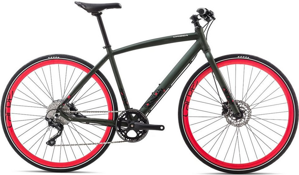 ORBEA Fitnessbike, 28 Zoll, 10 Gang Shimano XT Kettenschaltung, »Carpe 10« in grün-rot